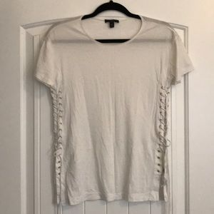 J crew gold grommet lace up tee.